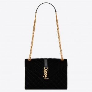 Saint Laurent Medium Envelope Bag In Black Suede