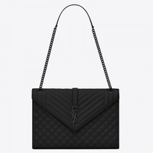 Saint Laurent Large Envelope All Black Bag
