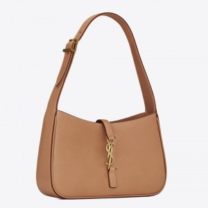 Saint Laurent Le 5 À 7 Hobo Bag In Brown Leather