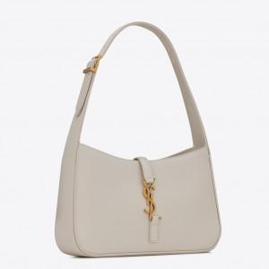 Saint Laurent Le 5 À 7 Hobo Bag In White Leather