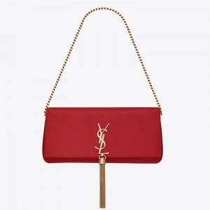 Saint Laurent Kate 99 Shoulder Bag In Red Lambskin