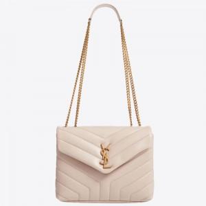 Saint Laurent Loulou Small Bag In Beige Matelasse Leather