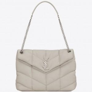 Saint Laurent Loulou Puffer Medium Bag In White Lambskin