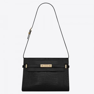 Saint Laurent Manhattan Shoulder Bag In Black Crocodile Embossed Leather
