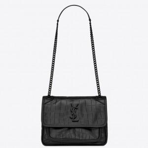 Saint Laurent Niki Baby Bag In Black Crocodile Embossed Leather