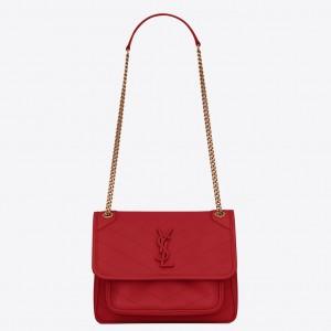 Saint Laurent Baby Niki Bag In Red Lambskin