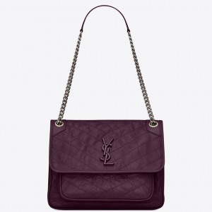Saint Laurent Medium Niki Bag In Prunia Crinkled Leather