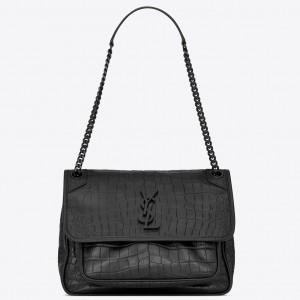 Saint Laurent Medium Niki Bag In Black Crocodile Embossed Leather