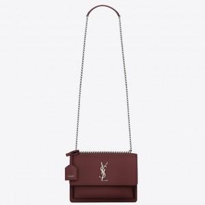 Saint Laurent Sunset Medium Bag In Bordeaux Grained Leather