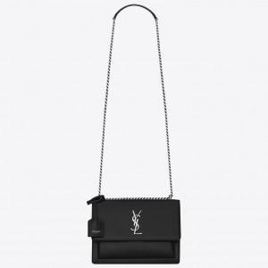 Saint Laurent Sunset Medium Bag In Black Grained Leather