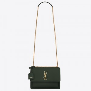 Saint Laurent Sunset Medium Bag In Green Calfskin