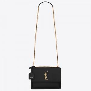 Saint Laurent Sunset Medium Bag In Black Calfskin