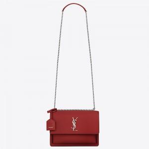 Saint Laurent Sunset Medium Bag In Red Calfskin