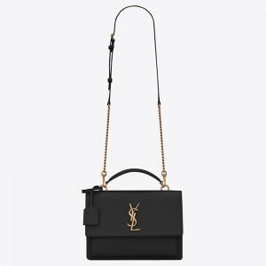 Saint Laurent New Medium Sunset Bag In Black Calfskin