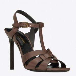 Saint Laurent Tribute High Heel Sandals In Chocolate Calfskin
