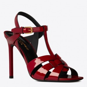 Saint Laurent Tribute High Heel Sandals In Red Patent Leather
