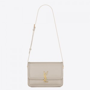 Saint Laurent Solferino Medium Bag In White Calfskin
