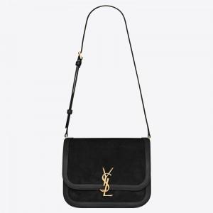 Saint Laurent Solferino Medium Soft Bag In Black Suede