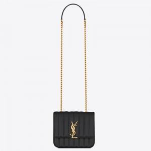 Saint Laurent Medium Vicky Bag In Black Grained Leather