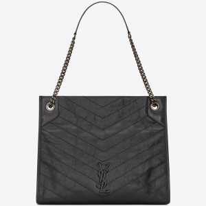 Saint Laurent Medium Niki Shopping Bag In Storm Leather