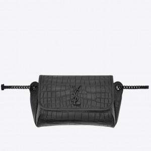 Saint Laurent Niki Body Bag In Black Croco-Embossed Leather