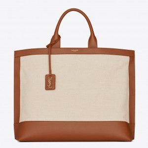 Saint Laurent Tag Shopping Bag In Canvas And Brown Leather