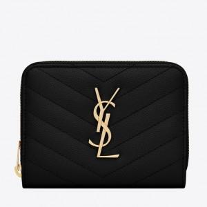 Saint Laurent Compact Zip Around Wallet In Black Leather