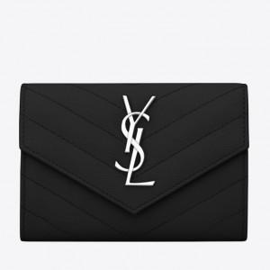 Saint Laurent Small Envelope Wallet In Noir Leather