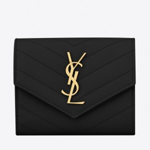 Saint Laurent Compact Tri Fold Wallet In Black Leather