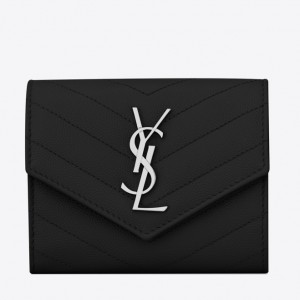 Saint Laurent Compact Tri Fold Wallet In Noir Leather